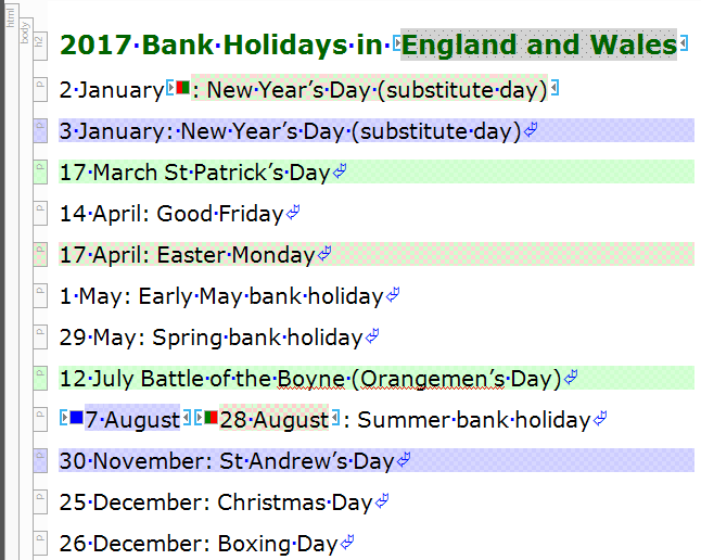 Screenshot showing bank holidays snippet