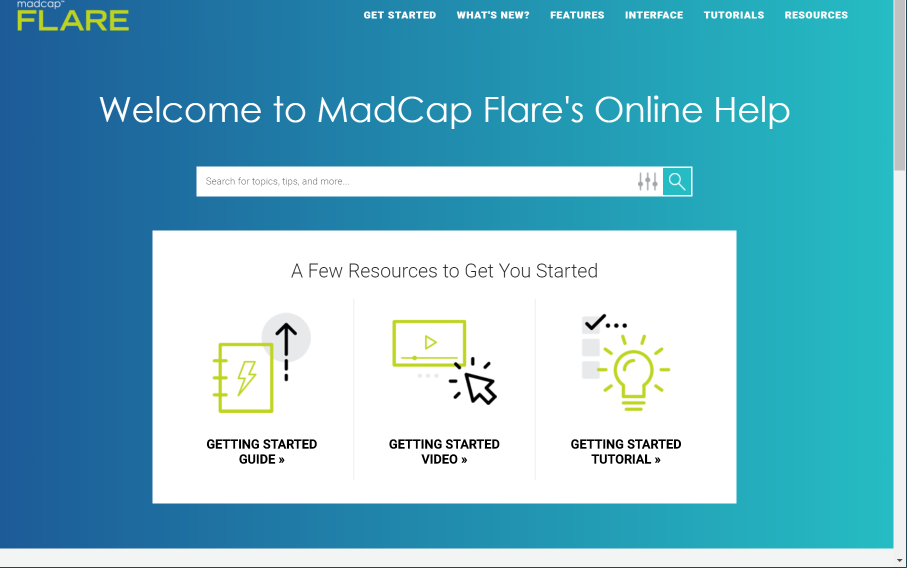 New Home page of MadCap Flare's Help
