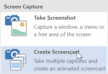 Screenshot showing the Create Screencast option in Help+Manual 8