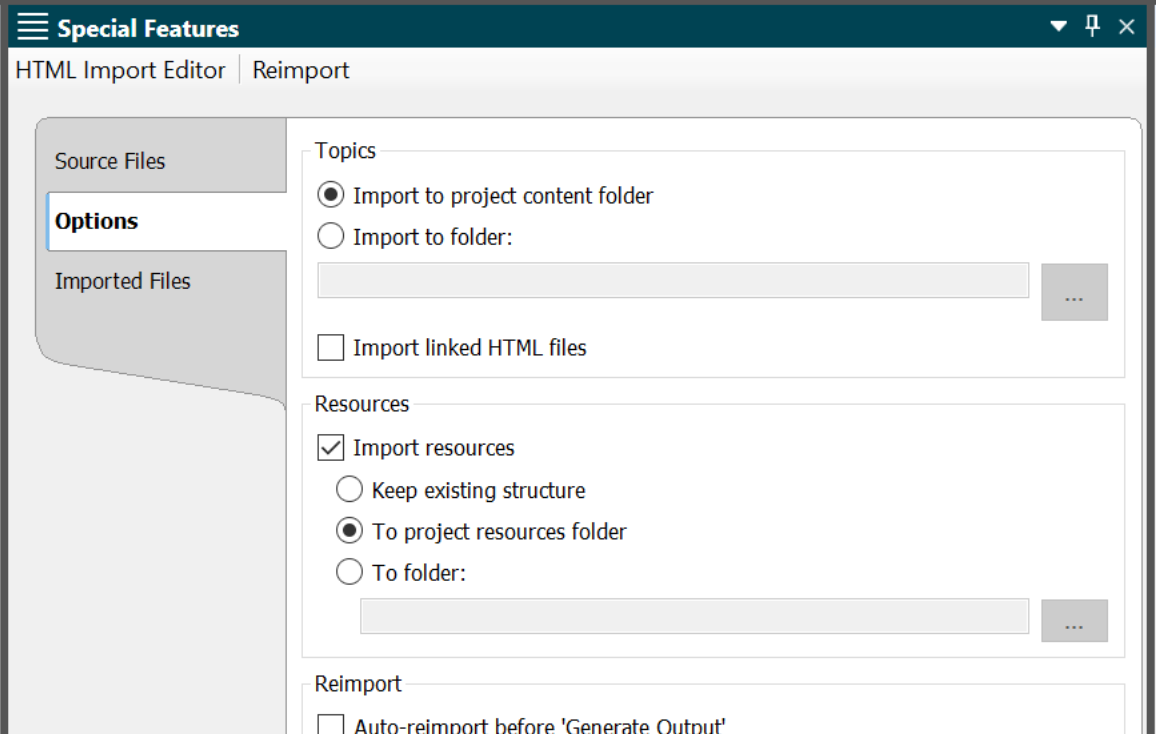 Screenshot showing Import resources option