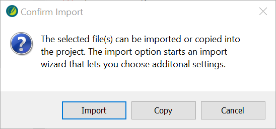 Screenshot showing choice of Import or Copy