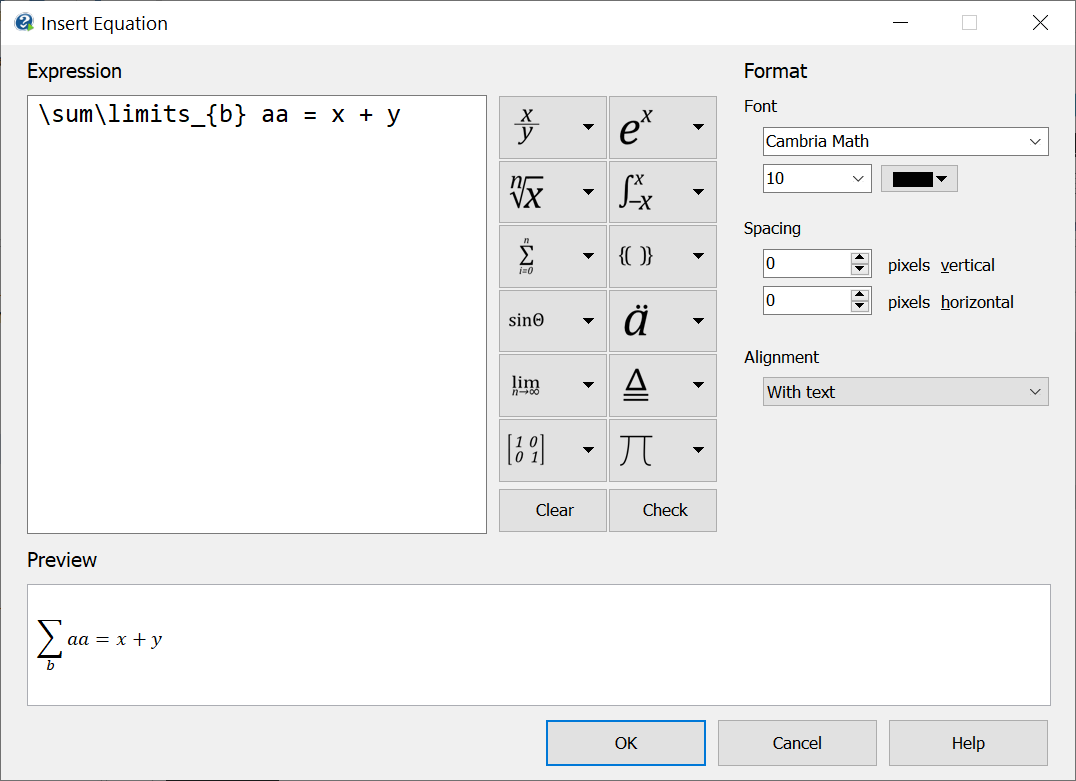 Screenshot showing the Formula Editor in Help+Manual 8